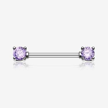 A Pair of Double Prong Gem Nipple Barbell Ring