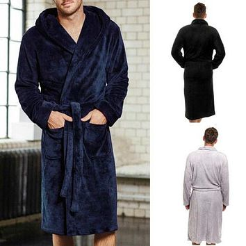 Fashion Men Solid Color Fleece Robe Winter Warm Waistband Male Shawl Collar Bathrobe Sleepwear Men Sexy Winter Robes 2019