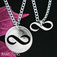 Infinity Necklace, Couples Jewelry, Special Quarter, hand cut coin by Namecoins