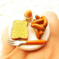 Cute Food Ring Minature Breakfast by SouZouCreations on Etsy