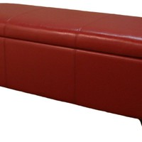 "Luisa Bonded Leather Storage Ottoman 48"", Red"