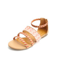 TRIBAL WOVEN STRAPPY FLAT SANDALS