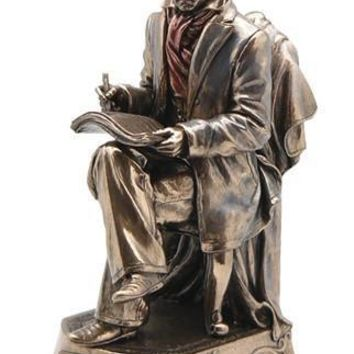 Beethoven Music Composer Seated Writing Music Statue Bronze Finish 9.75H