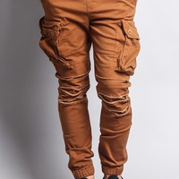 Big Cargo Jogger Pants With Distressed Knee JG896 - EE1D