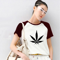 Rock Weed Raglan Sleeve Harajuku T shirt Women Unicorn Totoro T-shirt Kawaii Tshirt 2017 Tumblr Tops Punk Panda Alien Korean