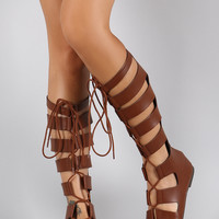 Soda Strappy Caged Lace Up Gladiator Knee High Flat Sandal