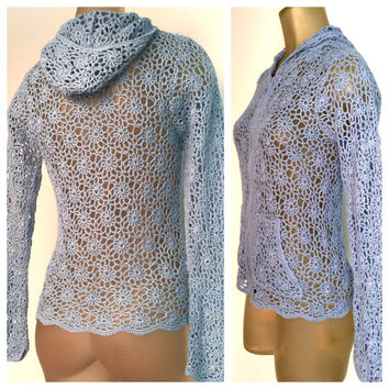 Zip Hooded Sweater, Light Blue Open Weave See Through. Front Pockets, Spring Hoodie Cardigan Sweater. Boho Style Unique Floral knit Crochet