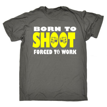 123t USA Men's Born To Shoot Forced To Work Camera Design Funny T-Shirt