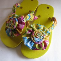Yellow Decorated Flip Flops | Luulla