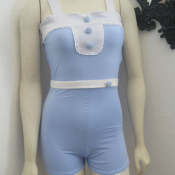 The Alice Romper .... One piece retro romper Swimsuit with Lace detail Made to order