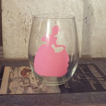 Disney Princess Inspried Wine Glass