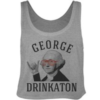 drunk george washington party crop top