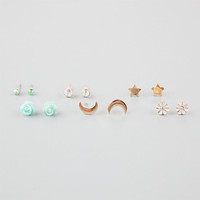 Full Tilt 6 Pairs Star/Moon/Rose Earrings Multi One Size For Women 25578295701