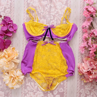 ELLIE / Purple and yellow lace lingerie set / Ready to ship