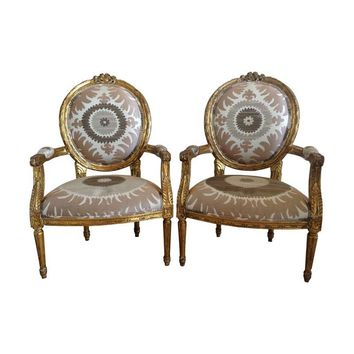 Pre-owned Gilt Louis XVI Chairs in Donghia Suzani - A Pair