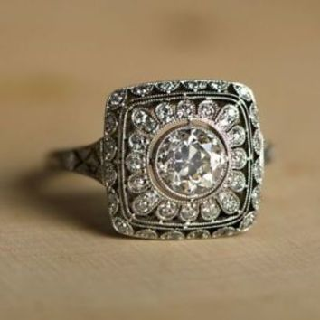 2 Ct Antique Art Deco Round Cut Vintage Engagement Ring In 925 Sterling Silver