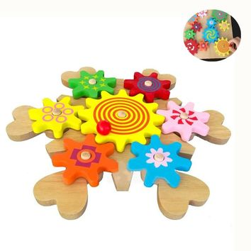 Wooden  DIY Colorful Magic Spin Moving Cog Gears 3D Building Blocks Funny Educational Toys For Kids Hobbies