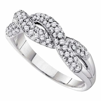 14kt White Gold Women's Round Diamond Woven Twist Crossover Band Ring 1-2 Cttw - FREE Shipping (US/CAN)