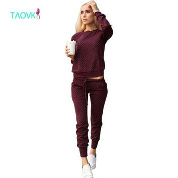 DCCKFV3 TAOVK new fashion Russia style Tracksuit For Women Costumes 2-Piece Sets  Polka dot printing Women's Tracksuits