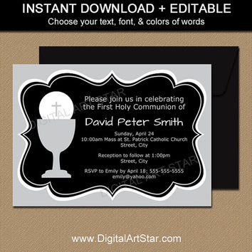First Communion Invitation Template - EDITABLE First Communion Digital Invitations - Printable First Holy Communion Invites Black & Silver