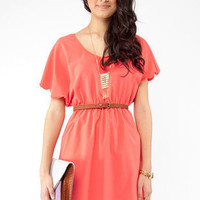 Pinkies Up Scalloped Dress in Pink :: tobi