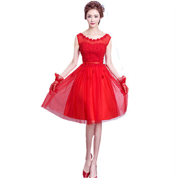 Short 2017 Cheap Red Pink Flowers Women Appliques Elegant Formal Cocktail Dresses sleeveless China Occasion party gowns B40