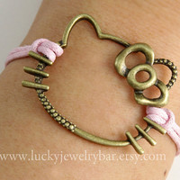Hello Kitty Bracelet, antique bronze bracelet, pink wax cords bracelet
