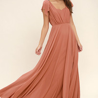 Falling For You Rusty Rose Maxi Dress