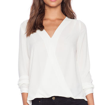 Three Eighty Two Sienna Surplice Top in Ivory