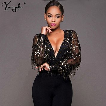 Sexy Black Gold Sequins Jumpsuit Summer Bodysuits Women body Long sleeve Leotard Sequined Night clubWear Embroidery Party Romper