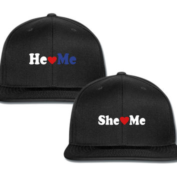 she loves me he loves me couple matching snapback cap