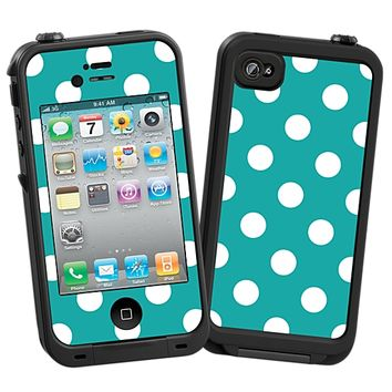 White Polka Dot on Turquoise Skin  for the iPhone 4/4S Lifeproof Case by skinzy.com