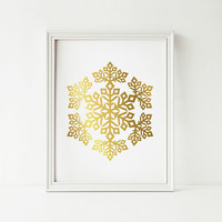 PRINTABLE art, Gold Snowflake art print, Gold Christmas decor, Gold decor, Faux gold foil print, Snowflake PRINTABLE wall art, Holiday decor