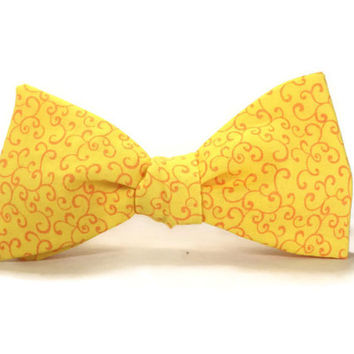 Pale Yellow bowtie, orange yellow bowtie, Sunshine bowtie, scroll bow tie, self tie, pre tie, mens yellow bowtie