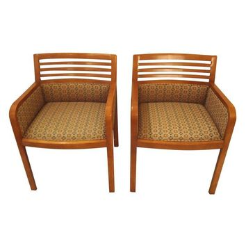 Pre-owned Mid-Century Modern Honey Colored Chairs - A Pair