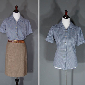Vintage Blouse Top / Navy Blue Gingham / Button Up / Short Sleeves / 1960's