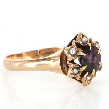 Antique Victorian 10 Karat Rose Gold Amethyst Seed Pearl Small Cocktail Stack Ring Vintage Estate Jewelry