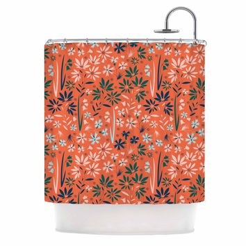 "Akwaflorell ""Meadow"" Coral Pink Digital Shower Curtain"