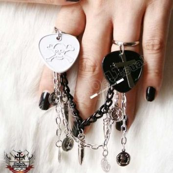 Punk Rock Musical Jewelry metal guitar pick bullet coin charm double/Twin rings (adjustable)