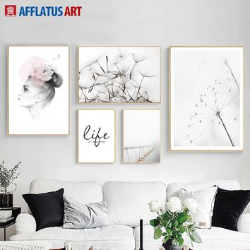 Girl Dandelion Bridge Quote Landscape Wall Art Canvas Painting Nordic Posters And Prints Wall Pictures For Living Room Decor