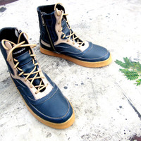 US 6.5 women boots blue navy leather shoes Marapulai Merapi high top handmade Sneakers