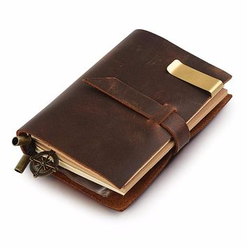 Moterm 100% Genuine Leather Notebook Handmade Diary Journal With Pen Holder Classic Vintage Sketchbook Planner Free Shipping