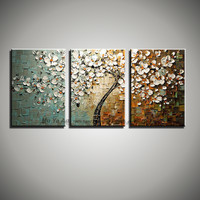 3 piece blossom knife abstract acrylic painting hand painted flower decoration painting oil on canvas wall art for living room