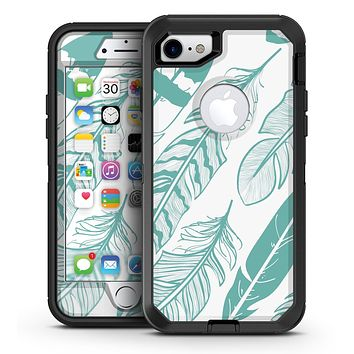 Teal Feather Pattern - iPhone 7 or 7 Plus OtterBox Defender Case Skin Decal Kit