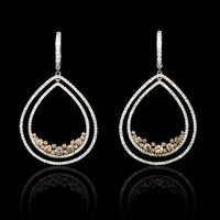 3.76ct Diamond 18k Two Tone Gold Dangle Earrings