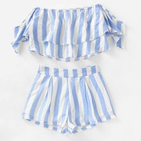 Off Shoulder Striped Layered Crop Top With Shorts