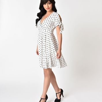 Vintage Style White & Black Polka Dot Fit & Flare Chiffon Dress