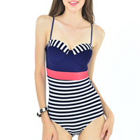 Striped Push Up One Piece Swimsuit  10448