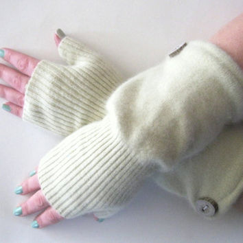 Spring Cashmere Fingerless Gloves - Light Green Texting Gloves Arm Warmers : Upcycled Recycled Repurposed Eco Friendly