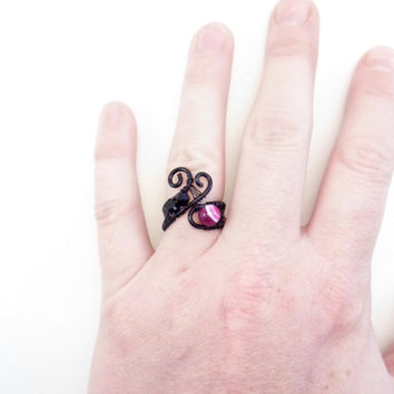 Agate, Swarovski and copper ring. Black, pink and purple. Gemstone. Wire wraped, Adjustable.